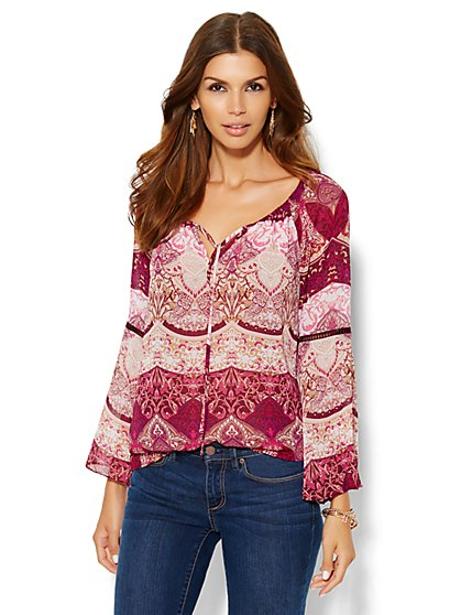 Bell-Sleeve Peasant Blouse - Paisley Print  - New York & Company