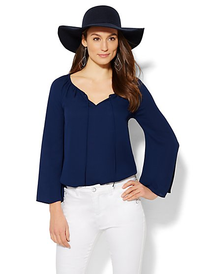 Bell-Sleeve Peasant Blouse - Solid  - New York & Company