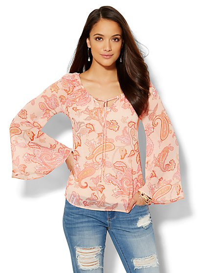 Bell-Sleeve Poet Blouse - Paisley  - New York & Company