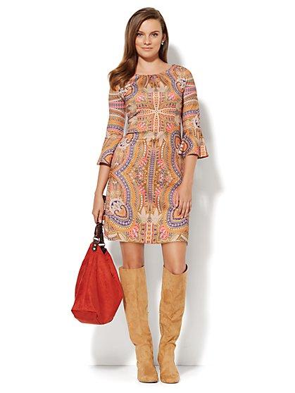 Bell-Sleeve Scuba Dress - Petite  - New York & Company