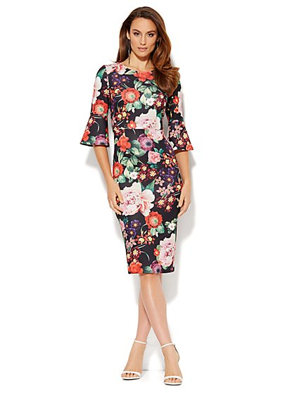 Bell Sleeve Scuba Sheath Dress - Floral - New York & Company