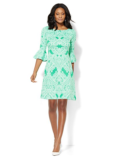 Bell-Sleeve Shift Dress - Paisley  - New York & Company