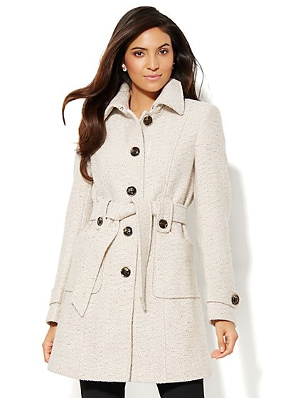 Belted Bouclé Coat  - New York & Company