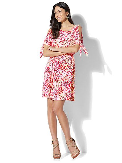 Belted Cold-Shoulder Dress - Floral Print - New York & Company