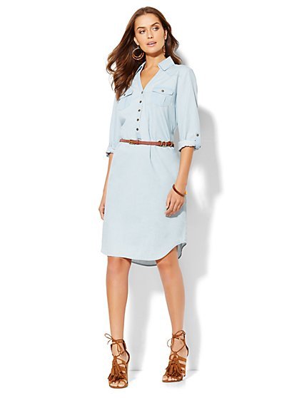 Belted Denim Popover Shirtdress - Hidden Blue  - New York & Company