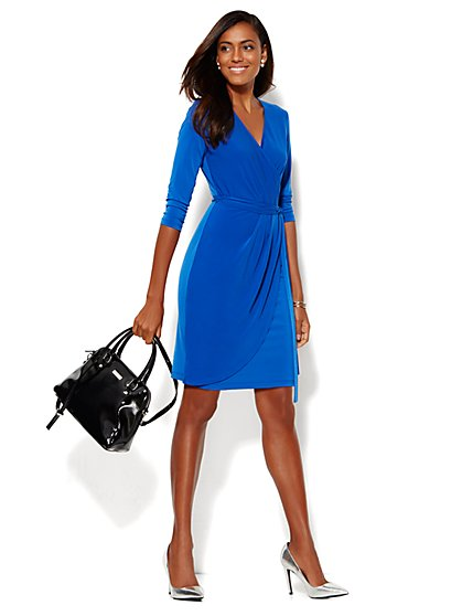 Belted Faux-Wrap Dress - New York & Company