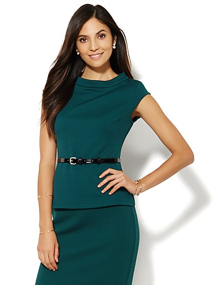 Belted Funnel-Neck Top - Wreath Green  - New York & Company