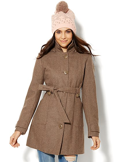 Belted Hooded Coat - New York & Company