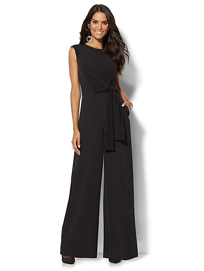 Belted Jumpsuit - Black  - New York & Company