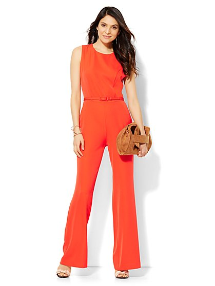 Belted Jumpsuit - Red  - New York & Company