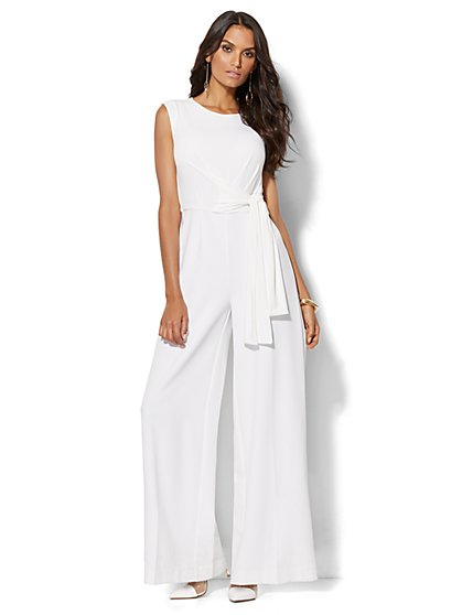Belted Jumpsuit - White  - New York & Company