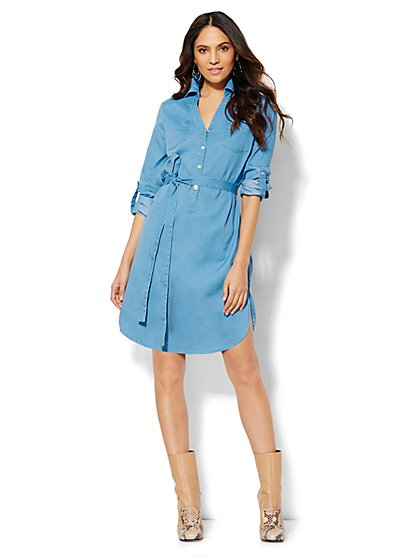 Belted Popover Shirtdress  - New York & Company