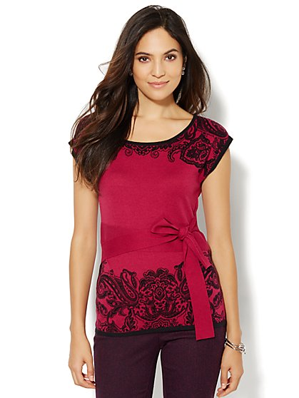 Belted Scoopneck Sweater - Print - New York & Company