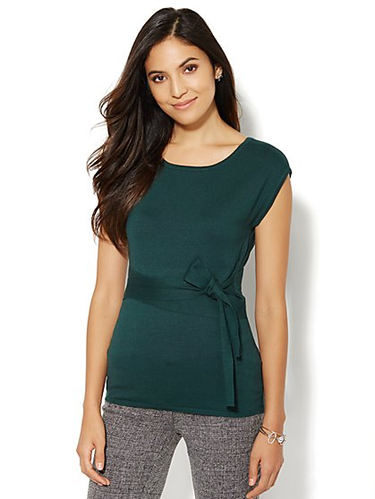 Belted Scoopneck Sweater - New York & Company