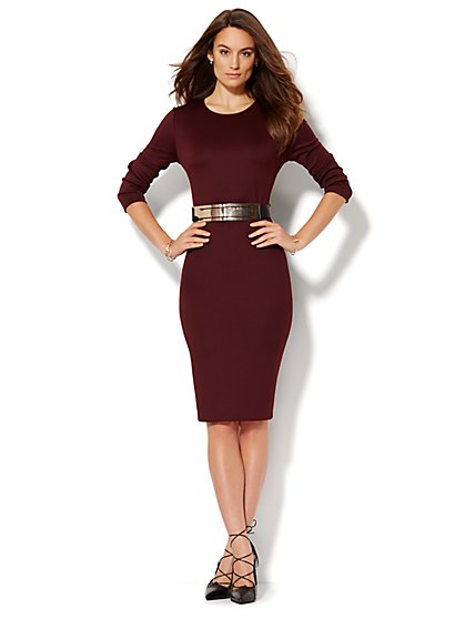 Belted Scuba Sheath Dress - Solid - Petite - New York & Company