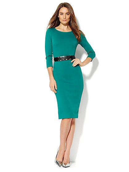 Belted Scuba Sheath Dress - Solid - New York & Company