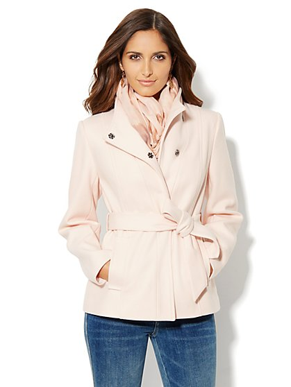 Belted Seamed Wool-Blend Coat - New York & Company