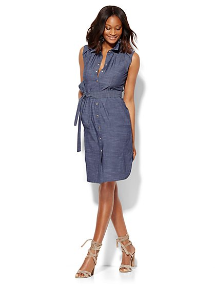 Belted Sleeveless Shirt Dress  - New York & Company
