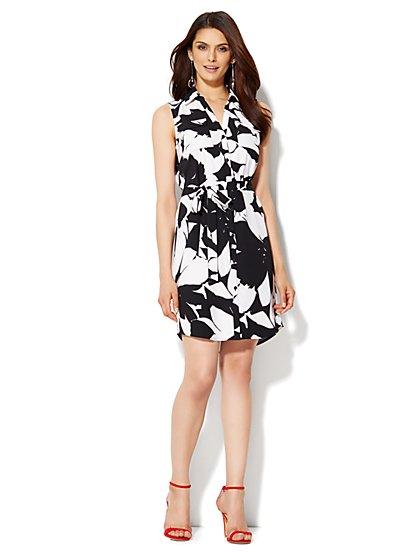 Belted Sleeveless Soho Shirt Dress - Floral  - New York & Company