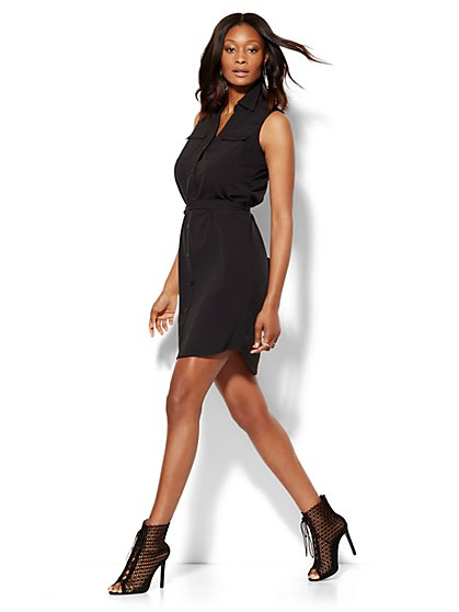 Belted Sleeveless Soho Shirt Dress - New York & Company