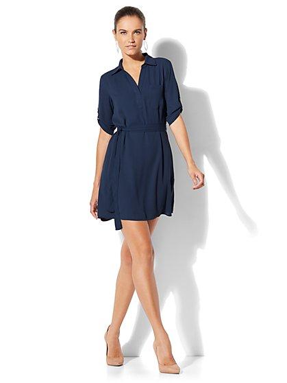 Belted Soft Shirtdress - New York & Company