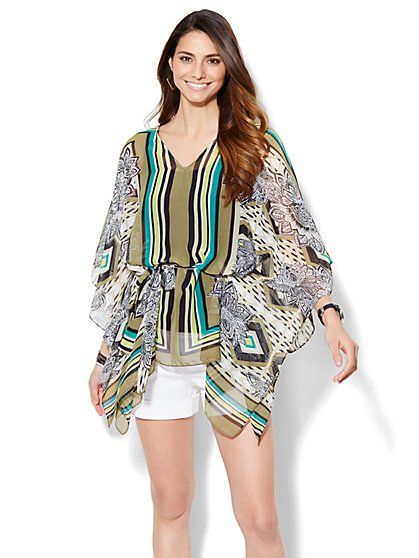 Belted Topper - Floral/Linear Print  - New York & Company
