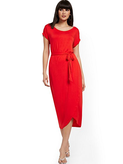 Belted Tulip-Hem Midi Dress - NY&C Style System - New York & Company