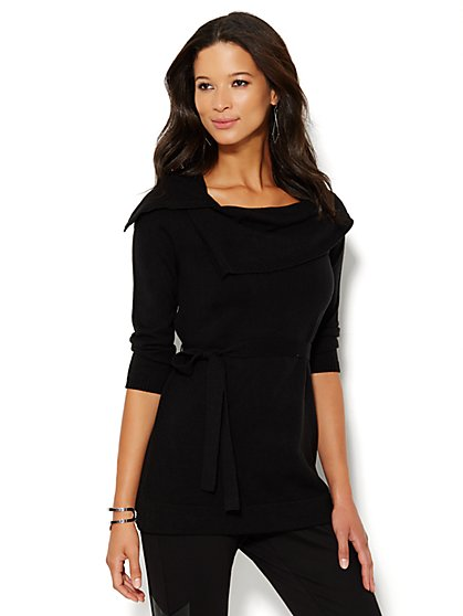 Belted Tunic Sweater - New York & Company