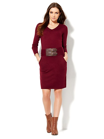 Belted V-Neck Sweater Dress  - New York & Company