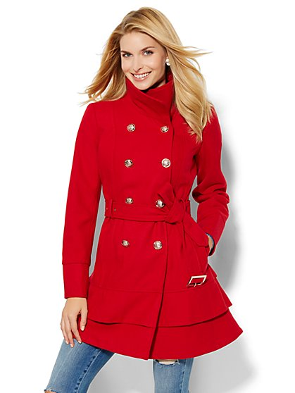 Belted Wool-Blend Coat  - New York & Company