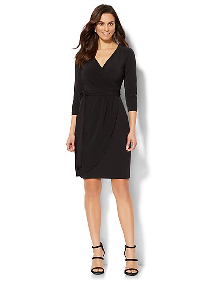 Belted Wrap Dress - Petite - New York & Company