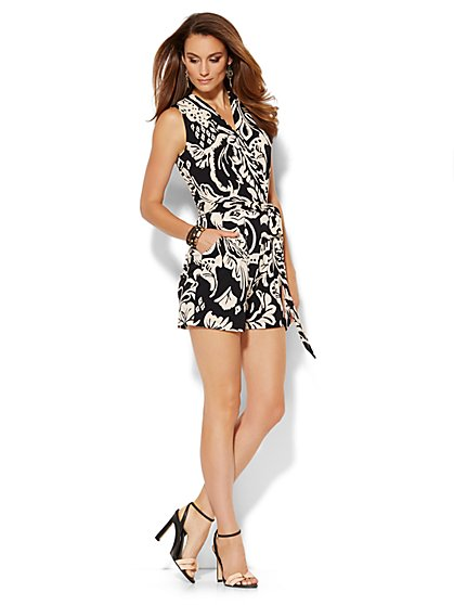 Belted Wrap Romper - Abstract Floral  - New York & Company