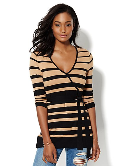 Belted Wrap Tunic Sweater - Striped - New York & Company