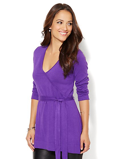 Belted Wrap Tunic Sweater - New York & Company