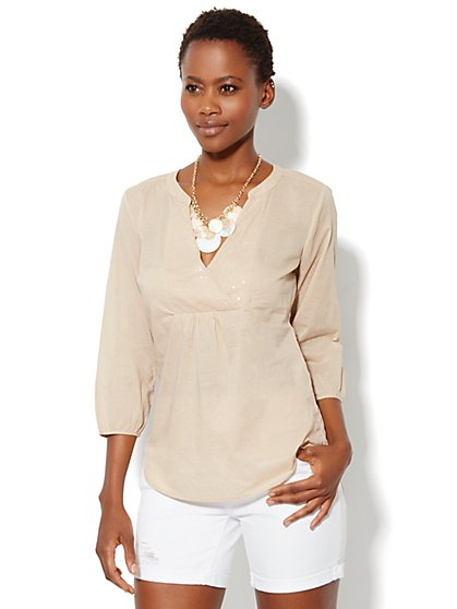 Bib-Front Peasant Top - New York & Company