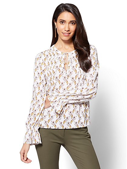 Bird-Print Soft Shirt - New York & Company