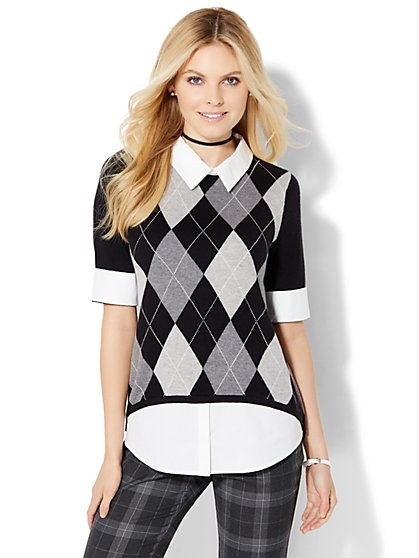 Black Argyle Twofer Sweater  - New York & Company