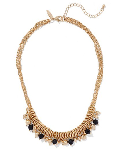 Black Beaded Goldtone Necklace  - New York & Company
