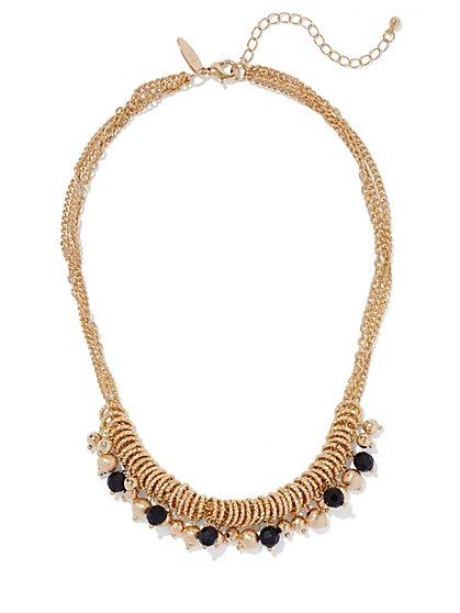 Black Beaded Goldtone Necklace  - New York & Company