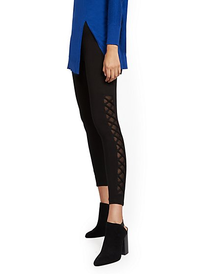 Black Crisscross Cutout Legging - New York & Company