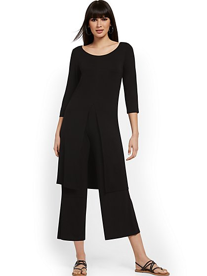 Black Duster Tunic Top - NY&C Style System - New York & Company