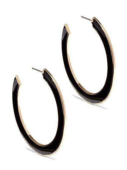 Black Enamel Hoop Earring - New York & Company