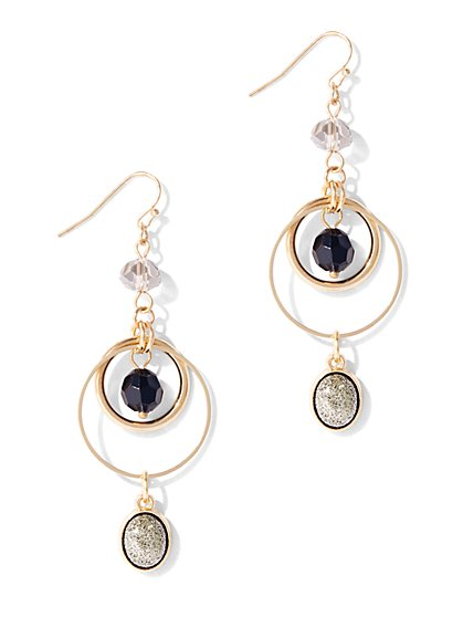 Black Faceted Faux-Stone Drop Earring  - New York & Company