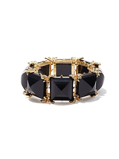 Black Faceted Squares Stretch Bracelet  - New York & Company