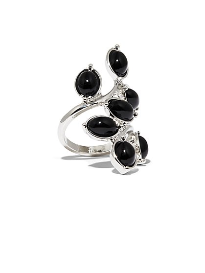 Black Faux-Stone Silvertone Ring  - New York & Company