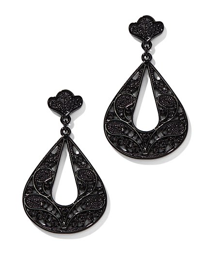 Black Open-Teardrop Filigree Earring - New York & Company