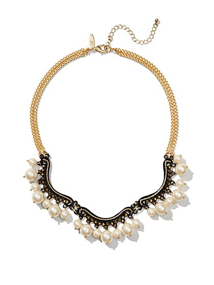 Black Scroll and Faux Pearl-Drop Necklace  - New York & Company