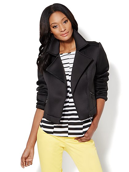 Black Scuba Moto Jacket  - New York & Company
