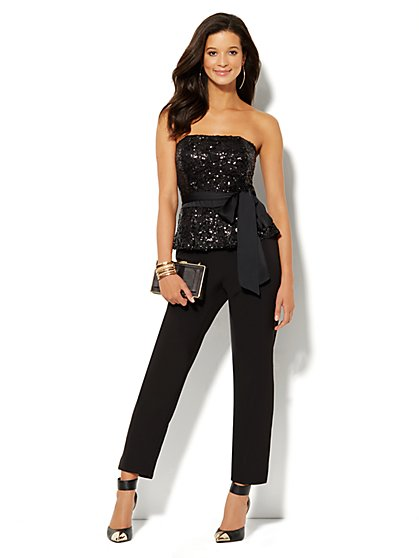 Black Sequin Strapless Jumpsuit - New York & Company