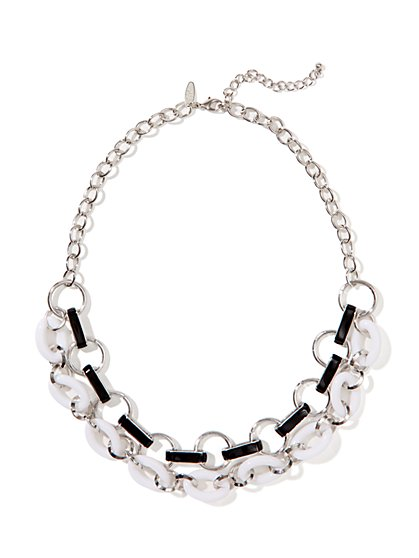 Black & White Double-Strand Link Necklace